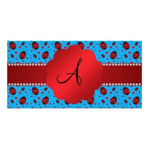 Monogram blue ladybugs hearts pattern photo greeting card