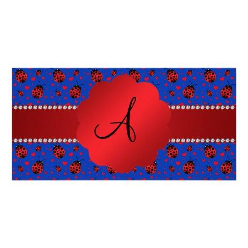 Monogram blue ladybugs hearts photo greeting card