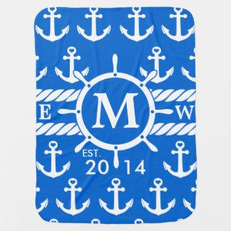 Monogram Blue Nautical Anchors Pattern Baby Blanket