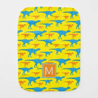 Monogram | Blue Orange Yellow Dinosaurs Burp Cloth