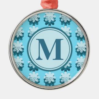 Monogram Blue Petal Pattern Silver-Colored Round Ornament
