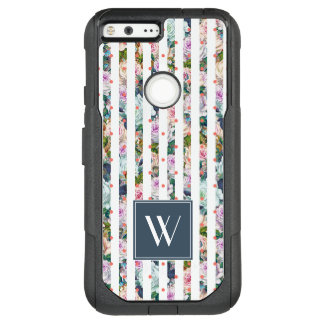 Monogram | Blue & Pink Rose Stripes Polka Dots OtterBox Commuter Google Pixel XL Case