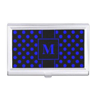 Monogram Blue Polka Dot on Black Business Card Holder