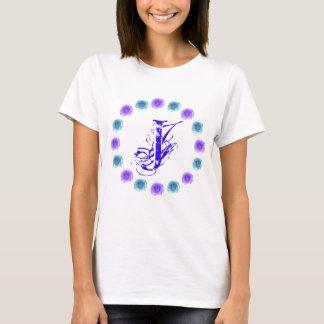 Monogram Blue Roses Tshirt Letter J
