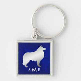 Monogram Blue Silver Collie Dog Keychain