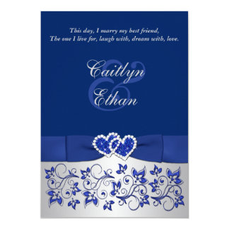 Monogram Blue, Silver Floral Wedding Invitation