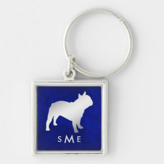 Monogram Blue Silver French Bulldog Keychain