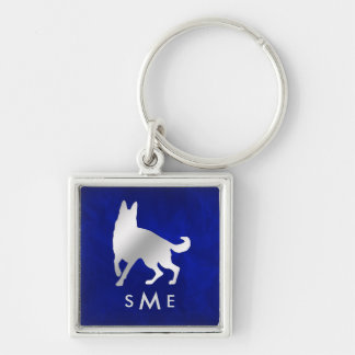 Monogram Blue Silver German Shepherd Dog Keychain