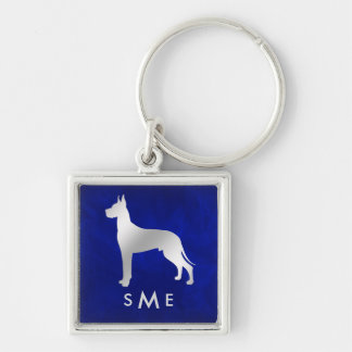 Monogram Blue Silver Great Dane Keychain