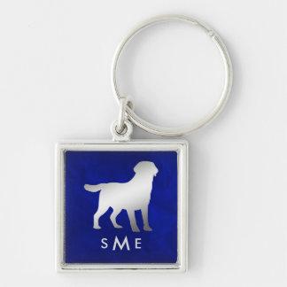 Monogram Blue Silver Labrador Retriever Keychain