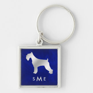 Monogram Blue Silver Schnauzer Keychain