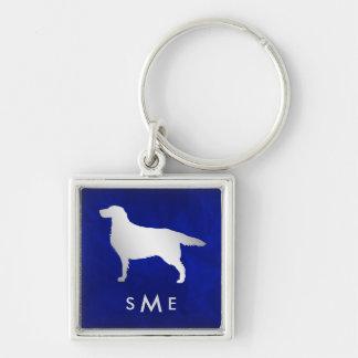 Monogram Blue Silver Setter Dog Keychain