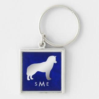 Monogram Blue Silver Siberian Husky Keychain