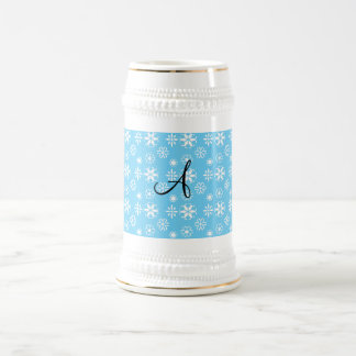 Monogram blue snowflakes mug