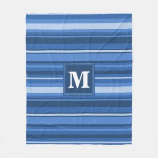 Monogram blue stripes fleece blanket