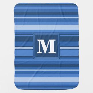 Monogram blue stripes swaddle blankets