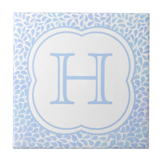 Monogram blue watercolor drops ceramic tile