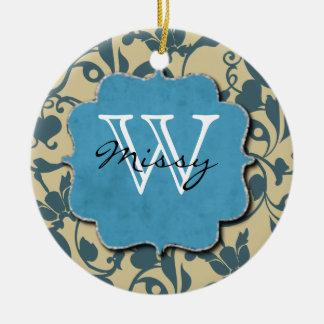 Monogram Blue Weathered Round Ceramic Ornament