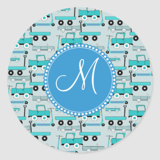 Monogram Blue Wheels Scooters Cars Wagons Trucks Classic Round Sticker