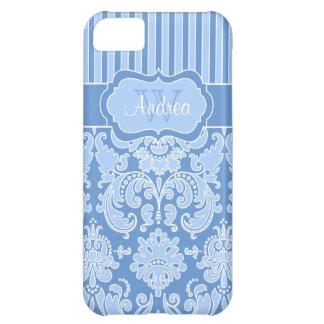 Monogram Blue, White Striped Damask iPhone 5C Case