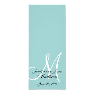 "Monogram Blue White Wedding Church Program 4"" X 9.25"" Invitation Card"