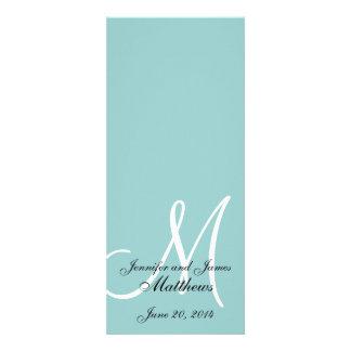 Monogram Blue White Wedding Church Program Personalized Invitation