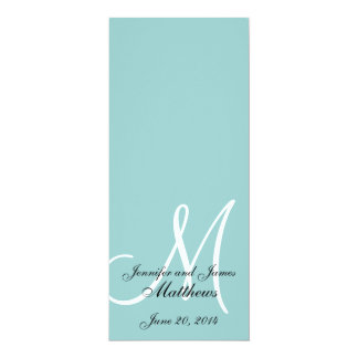 Monogram Blue White Wedding Church Program 4x9.25 Paper Invitation Card