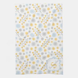 Monogram Blue Yellow & Gray Kitchen Towel 16x24