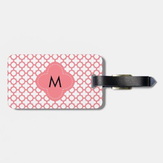 Monogram Blush Pink Quatrefoil Pattern Luggage Tag