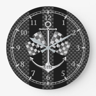 Monogram Boat Racing Nautical in Carbon Fiber Dial Large Clock