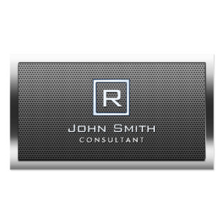 Monogram Bold Steel Border Metal Consultant Double-Sided Standard Business Cards (Pack Of 100)