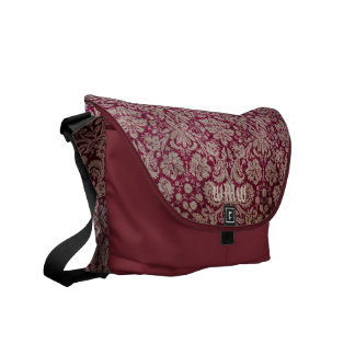 Monogram Bordeaux Vintage Damask Pattern Shoulder Commuter Bag
