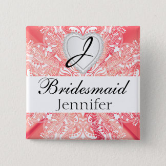 Monogram Bridal Party Coral Satin Design 2 Inch Square Button