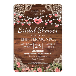 Monogram Bridal Shower Rustic Country Card