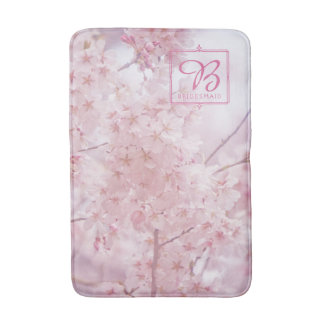 Monogram Bridesmaid Pale Pink Cherry Blossoms Bath Mat