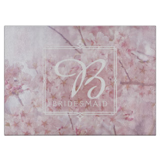 Monogram Bridesmaid Pale Pink Cherry Blossoms Boards