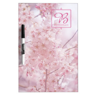 Monogram Bridesmaid Pale Pink Cherry Blossoms Dry Erase Board