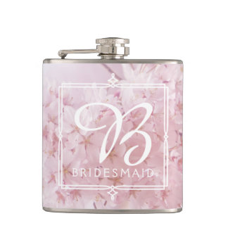 Monogram Bridesmaid Pale Pink Cherry Blossoms Flasks
