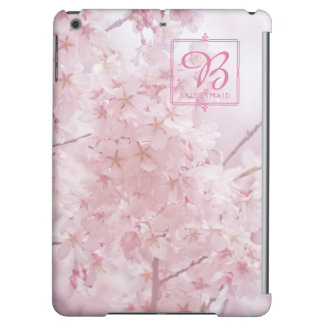 Monogram Bridesmaid Pale Pink Cherry Blossoms iPad Air Cover