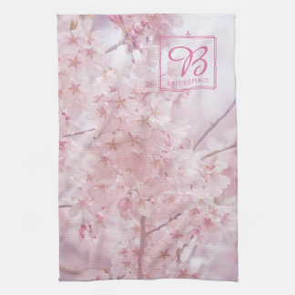 Monogram Bridesmaid Pale Pink Cherry Blossoms Kitchen Towel