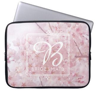Monogram Bridesmaid Pale Pink Cherry Blossoms Laptop Sleeve