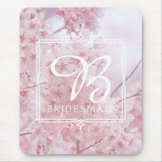 Monogram Bridesmaid Pale Pink Cherry Blossoms Mouse Pad
