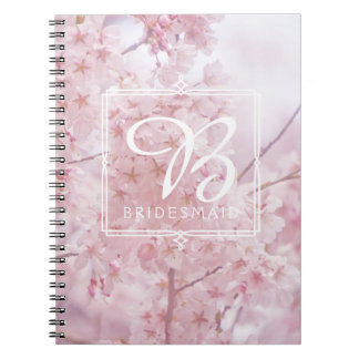 Monogram Bridesmaid Pale Pink Cherry Blossoms Notebooks