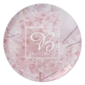 Monogram Bridesmaid Pale Pink Cherry Blossoms Plates