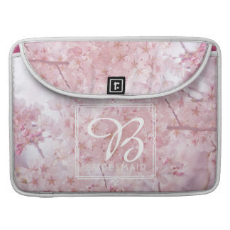 Monogram Bridesmaid Pale Pink Cherry Blossoms Sleeve For MacBooks