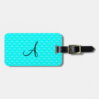 Monogram bright aqua pearl polka dots luggage tag
