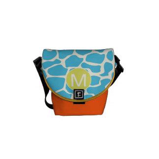 Monogram Bright Colorful Aqua Giraffe Pattern Messenger Bags