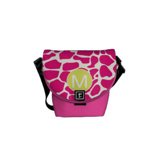Monogram Bright Colorful Giraffe Pattern Commuter Bag