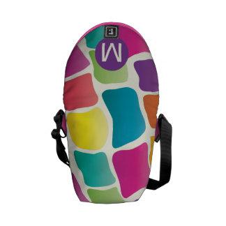 Monogram Bright Colorful Giraffe Pattern Messenger Bag