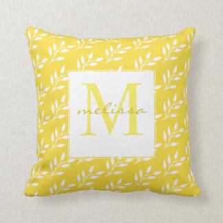 Monogram Bright Summer Yellow & White Pattern Throw Pillow